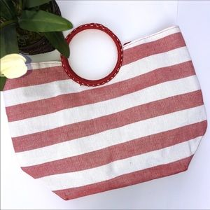 ‼️5/$25‼️Large Red And White Striped Canvas Tote